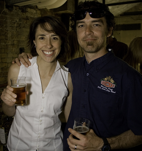 Rep. Christine Johnson, chief sponsor of HB51, and Kevin Templin (RedRock) enjoy some HB51 ale at Desert Edge.