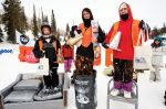 Men's Board 17 and under winners (L to R)� Noah Sutton 3rd, Jordan Tramp 1st, Shawn Irwin 2nd.  Photo: Gagethompson.com