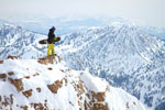Below: Jeremy Jensen and his powder surf board on top of the Northern Wasatch Range. Photo: Jeremy Jensen