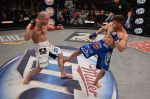The jeering Shamhalaev (L) beat Martinez (R) in Round Two of their matchup. Photo: Bellator MMA