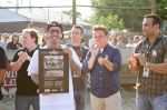 Squints (Chauncey Leopardi) and his castmates participate in a plaque dedication ceremony on The Sandlot. Photo: Cara Stosich