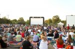 Hundreds gather to watch The Sandlot on The Sandlot. Photo: Cara Stosich