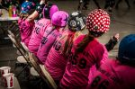 Grand Junction Roller Girls scheming from the bench.Photo: Chris Bojanower