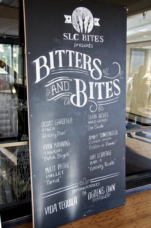 SLC Bites Presents Bitters & Bites on May 05.05. Chalkboard by designer and letterer, Thy Doan. Photo: Martin Rivero