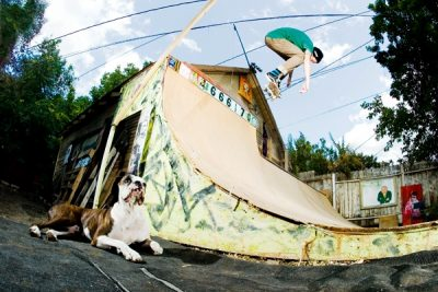 Enjoying the good life with mans best friend and a backyard ramp. Backside ollie out of the extension, Snuggles.