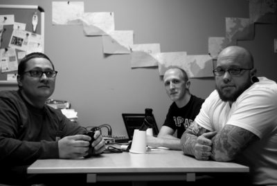 Casey Sartain, Trevor Hale and Sias Parsons during a recent Grudge City Podcast recording.