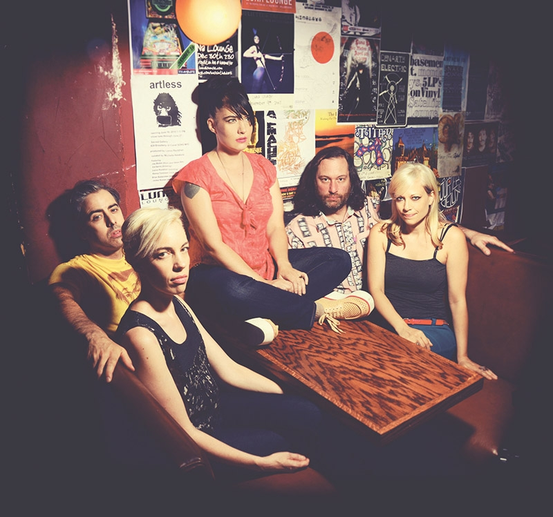 The Julie Ruin: (L–R) Carmine Covelli, Kathi Wilcox, Kathleen Hanna, Kenny Mellman and Sara Landeau, have no motives other than to play music and have fun.