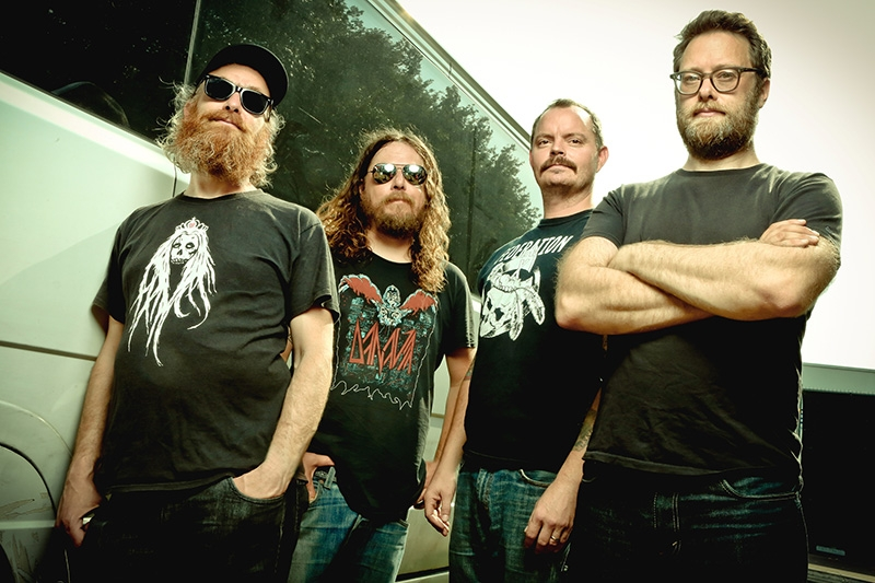 (L–R) David Sullivan, Bryan Giles, John Sherman and Aaron Beam of Red Fang had to hunker down to write the polished, dark album, Whales and Leeches.