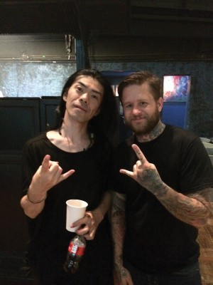 (L-R) Atsno, drummer and vocalist of Japan's Boris, and Kory Quist. Quist went on tour as merch dude/roadie with SubRosa on their tour in support of The Atlas Moth and Boris.