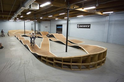 Wasatch Indoor Bike Park features approximately 1,500 feet of rideable surface.