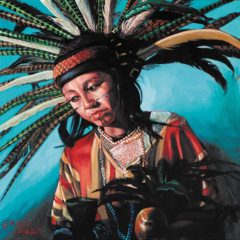 Works by Latin@/Chican@ artists, such as Ruby Chacon's Multigenerational Danzante Women Series, will be on display at the UMFA and MICA this February.