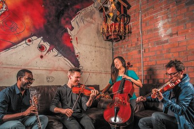 MOTUS comprise a revolving cast of musicians—pictured here are (L–R) Titus Underwood (oboe), David Porter (violin), Anne Lee (cello) and Claude Halter (violin).