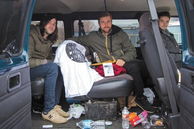 (L–R) Will Tuddenham, Jake Rosevear and Tony Lake of Wildcat Strike use a few handy tricks to make merch a viable part of touring each time they hit the road.