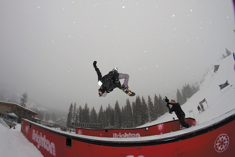 Braxton Eliasen, low and fast flip over the big gap set up on the side of the course.
