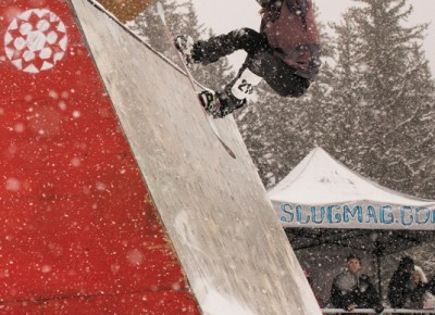 Front 180 on the wallride by this year's Women's Open Snow champion Sam Kolesky.