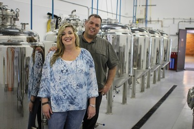(L–R) DeDe and Brian Coleman have moved 2Row Brewing from garage homebrewing to a full-scale, commercial-brewing operation.