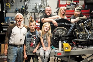 (L–R) Dirty Rats Mike Negley, Teagan and Devin White, Nick Kennedy and Ashlyn and Rick White are the tight-knit moto family of the Dirty Rat Moto Cyco shop.