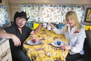 (L–R) Michael Sanders and Kate Wheadon raise a kitschy mug for the occasion of the Urban Flea Market's five-year anniversary.