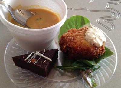 Pumpkin Curry Soup, Salmon Cake, Chocolate Decadence @ Wasatch Art Soiree. Photo: Alex Springer