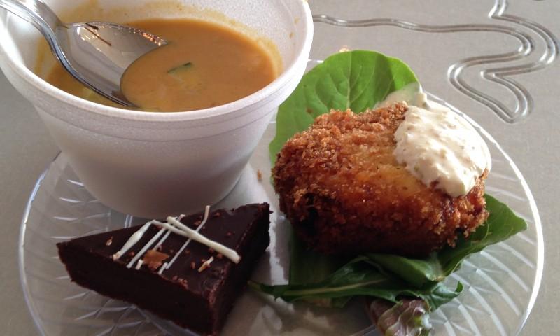 Pumpkin Curry Soup, Salmon Cake, Chocolate Decadence @ Wasatch Art Soiree. Photo: Alex Springer
