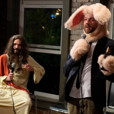 (L–R) Jason Harvey and Christopher Stephenson contributing a bit of absurdity to the Utah comedy scene.