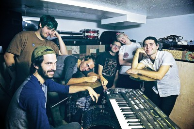 (L–R) Chaz Costello, Bret Meisenbach, Kyle Hooper, Jacob Hall, Katrina Ricks and Adam Klopp blend soft folk melodies with atmospheric depth as the core of Bat Manors.