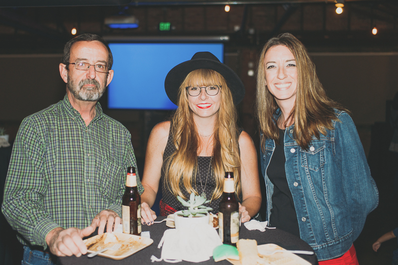 (L-R) Bob Leo, Jenny Wigham and Jill Leo enjoying the food and drinks. Photo: @clancycoop