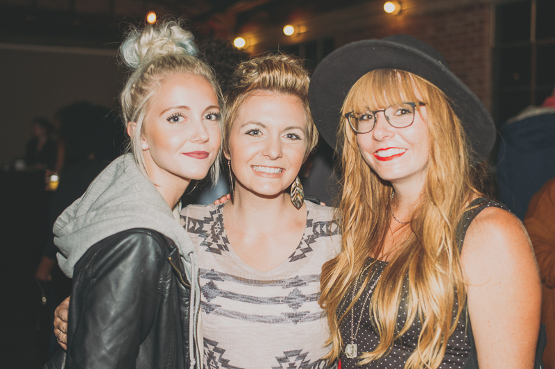 (L-R) Phoebe Taylor, Jessica Wigham and Jenny Wigham looking stylish during Color Animal's set. Photo: @clancycoop