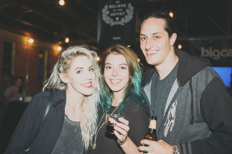 (L-R) Karly Tingey, Jillian Herman and Isaac Hastings enjoying the free and bountiful libations on hand. Photo: @clancycoop