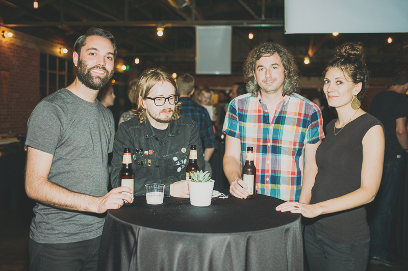 (L-R) Brian Lord and Cody Kirkland (SLUG writer!) chillin' with Tyler Ford and Felicia Baca of Color Animal before their set. Photo: @clancycoop