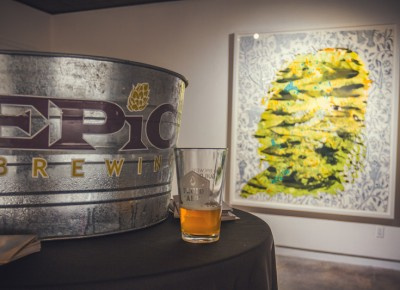 The best pairing of the night goes to Epic Brewery and artist Firelei Báez as the Imperial IPA mirrors perfectly the man who looks like a giant hop. Photo: Talyn Sherer