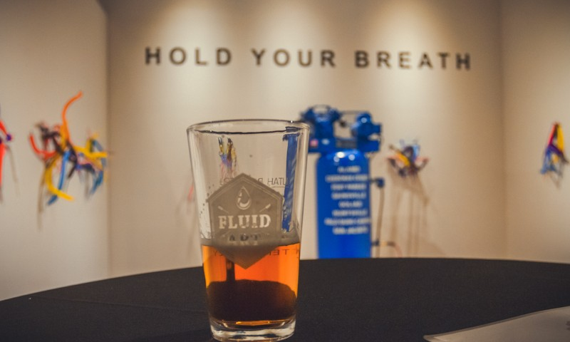 Bonneville Brewery samples their Promontory Steamer with artist Mel Zeigler's Hold Your Breath display. I nearly passed out trying to drink and retain a lung full of air following the artist's bold instructions. Photo: Talyn Sherer