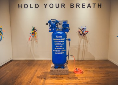 "Artist Mel Ziegler showcases his ""Hold Your Breath"" display, which reminds me of a very disappointing birthday party with a clown who can't make a simple balloon animal. Photo: Talyn Sherer"