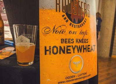 The most surprising beer of the night came from Roosters Brewing Co. Their Honey Wheat gave off a sweet and sour taste that paired with the wheat bags by artist Mel Ziegler. Photo: Talyn Sherer