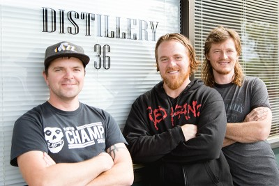 (L–R) Jensen Dobbs, Jon Gregersen and Creed Law of Distillery 36.