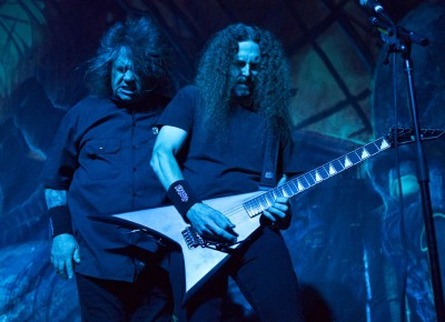 "(L–R) Steve ""Zetro"" Souza and Kragen Lum deliver an energetic performance opening for King Diamond. Photo by Madi Smith."