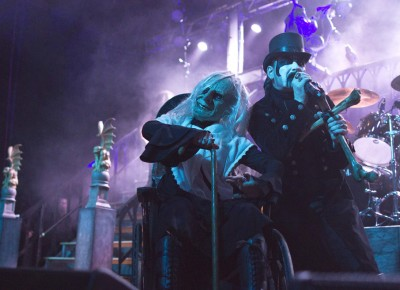 "Grandma poses as King Diamond performs ""Welcome Home."" Photo by Madi Smith."