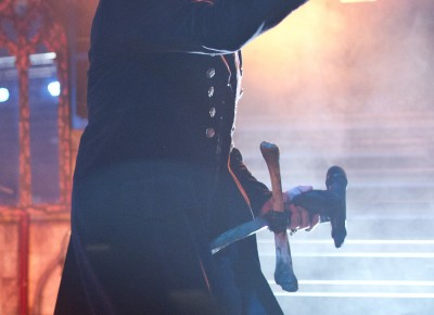 King Diamond throws metal horns to the audience. Photo by Madi Smith.
