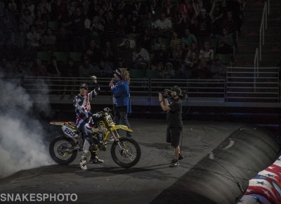 The man, Travis Pastrana, burns one out to get the show started. Photo: Jake Vivori