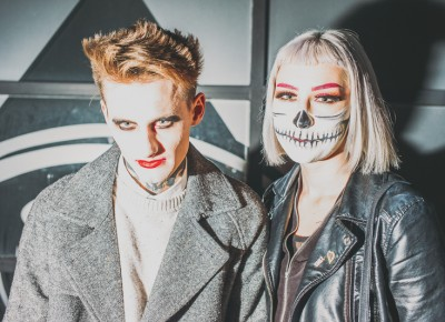 "Isaiah Boutwell as a ""Goth Snob"" and Kahli Smith as a skeleton. Photo: Tyson Call @clancycoop"