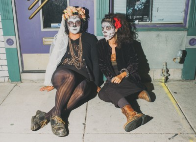 (L–R) Dübhe Manzanilla and Noel Papa looking spooky outside the show between performances. Photo: Tyson Call @clancycoop