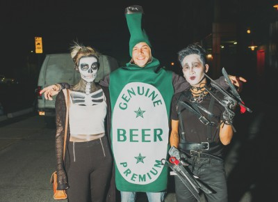 (L–R) Rainen Snyder as a skeleton, Julian Mitkus as a beer bottle and Trung Tham as Edward Scissorhands. Photo: Tyson Call @clancycoop