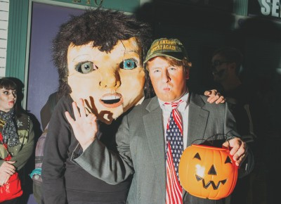 "(L–R) Sahsa Polo as ""secret costume"" and Kit Fry as Donald Trump. Photo: Tyson Call @clancycoop"