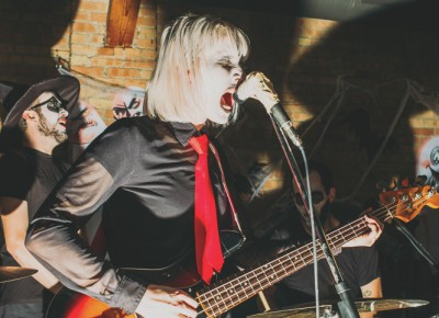 Katrina Ricks Peterson sings and plays bass with My Chemical Romance (Baby Ghosts). Band members switched instruments every song. Photo: Tyson Call @clancycoop