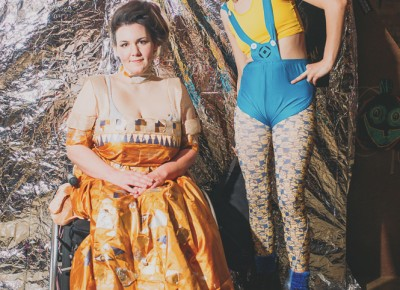"(L–R) Elizabeth Holden as Gustav Klimt's ""Adele Bloch-Bauer"" and Alex Pow as a ""sexy minion"" (her words). Photo: Tyson Call @clancycoop"