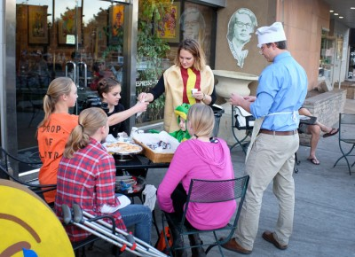 The Coffee Garden offered candy and lady fingers to early-evening trick-or-treaters. Photo: John Barkiple