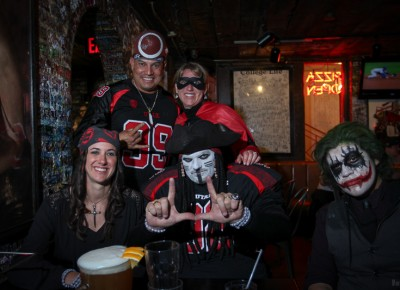 The Pie waited on the post-game crowd to fill every table, but many happy diners were already there in costume. Photo: John Barkiple