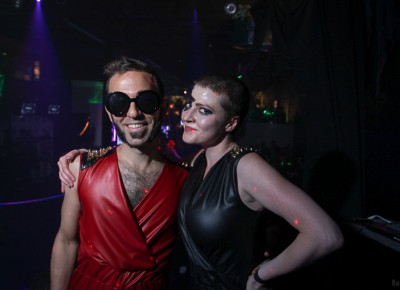 Rafi and Ischa leave the stage after opening for Sketch Cabaret's Halloween party at Metro Bar. Photo: John Barkiple