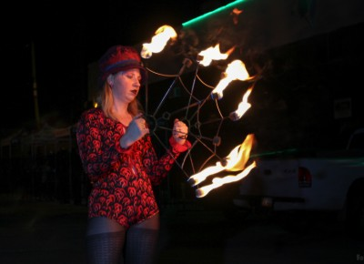Sketch Cabaret's Halloween party included Cirkus Pandemonium fire dancers who set the night on fire in the parking lot outside of Metro Bar. Photo: John Barkiple