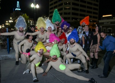 A group of troll dolls marched from Club Elevate to the Super Top Secret party on Edison Street. Photo: John Barkiple